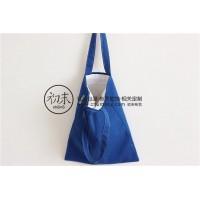 蓝色帆布手提袋书本袋单肩包