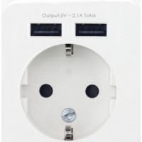 歐規墻壁插座 2.1A雙USB歐式充電器插座德規法規墻壁插座