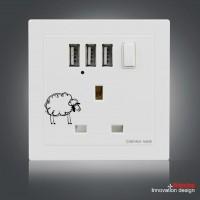 英規86型墻壁插座 強勁3USB帶開關