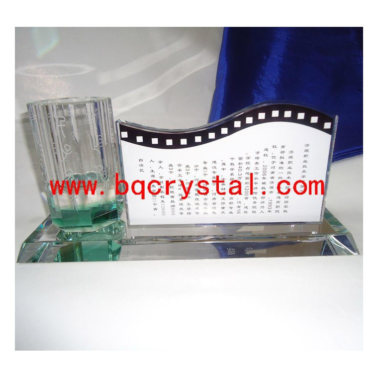 供應冰泉bg222水晶辦公用品  筆筒名片座套件