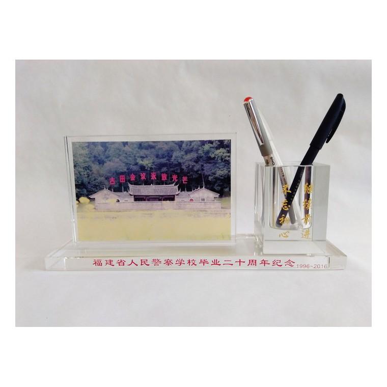 供應水晶筆筒   水晶辦公用品二件套   古田會議紀念品