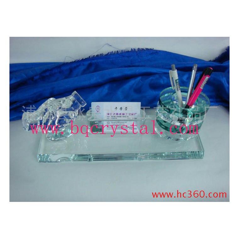 供應水晶辦公用品,名片座,筆筒