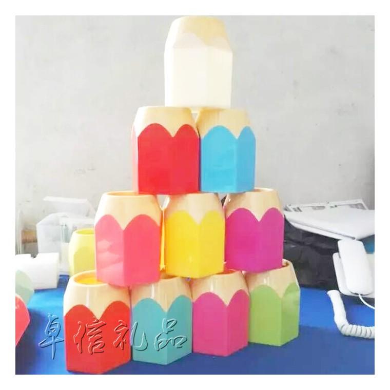 工廠直銷六邊形彩色塑料筆筒 廣告筆筒 辦公用品收納盒logo定制