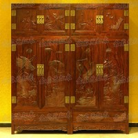 檀雕荷花頂箱柜(紅木家具)
