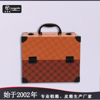 皮革化妆箱手提PU双开盘珠宝盒大容量多层首饰盒