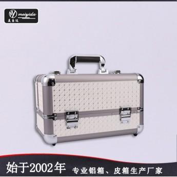 供应双开铝合金高档大容量化妆箱