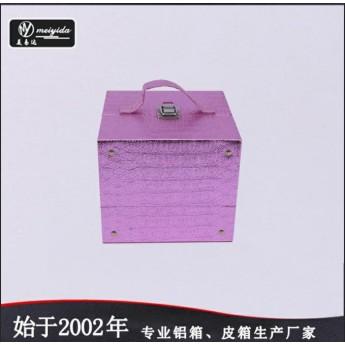 廠家直銷可定制小號手提化妝箱多盤收納箱便攜跟妝專用化妝箱