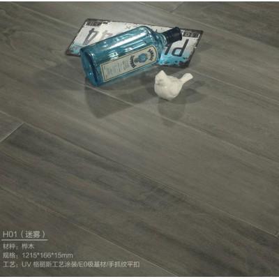 手抓紋平扣實木地板