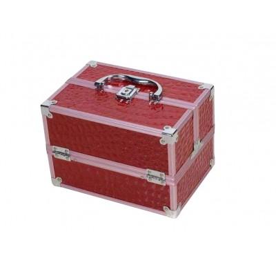 跟妆化妆箱大容量多功能三层化妆品收纳箱蕾丝美甲工具箱
