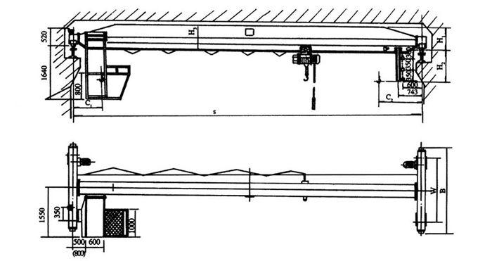 LD型电动单梁起重机图纸及外形尺寸
