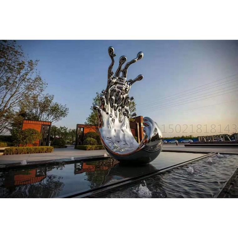 杭州 酒店大堂不銹鋼水滴浪花雕塑 金屬水景擺件