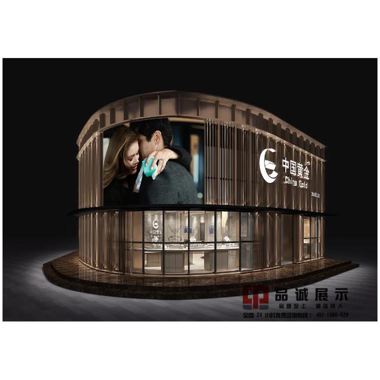 深圳中國黃金珠寶展柜制作廠家-弧形珠寶展柜-品誠展示柜制造商