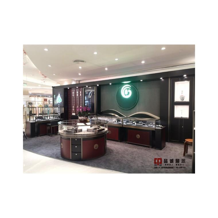 深圳珠宝展柜制作厂家-圆形展柜-弧形珠宝展柜-品诚展示柜