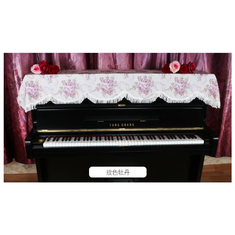 鋼琴頂披歐式經典流蘇琴罩布藝花型金絲絨鋼琴頂披電子琴罩