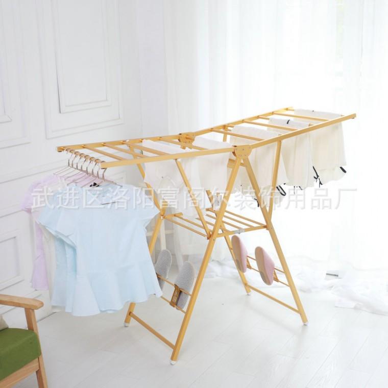 翼型折叠落地晾衣架 阳台室内不锈钢挂衣伸缩折叠晒衣架便捷式