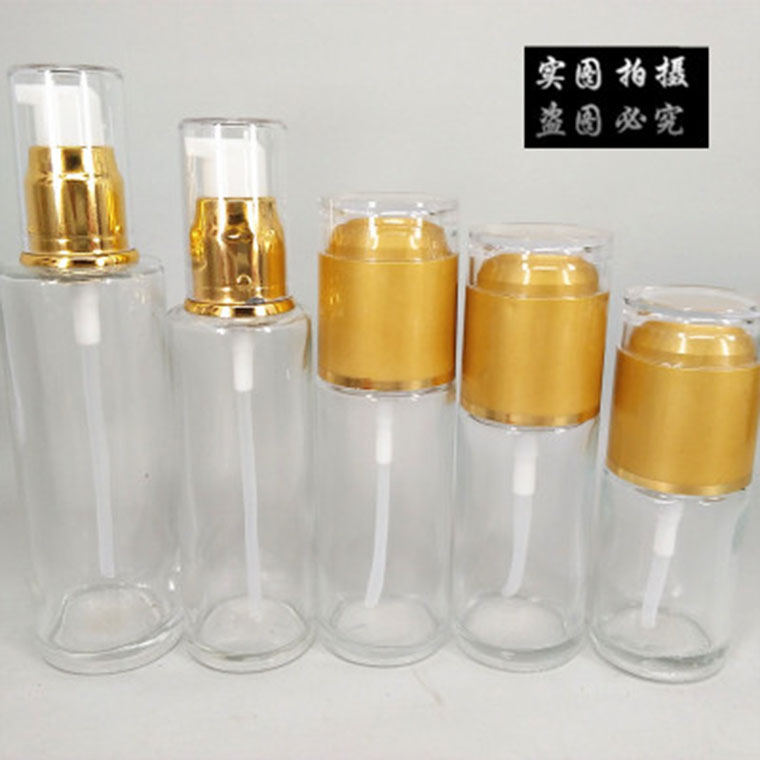 按壓透明玻璃乳液瓶 亞克力蓋香水瓶噴霧瓶 化妝品分裝瓶子