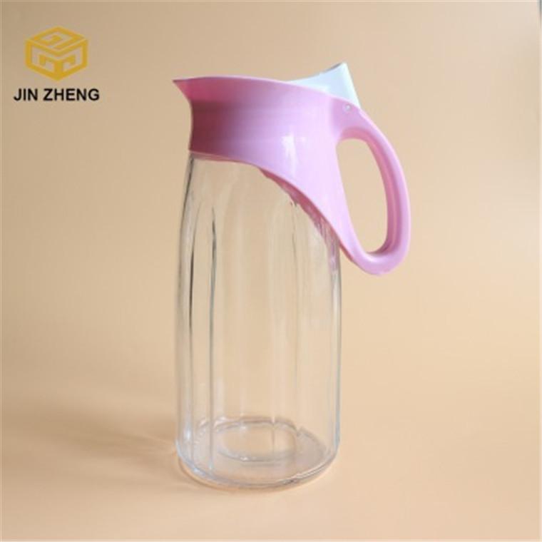 塑料蓋條紋玻璃壺 透明冷水壺