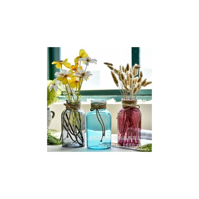 花瓶簡約創意麻繩玻璃花瓶手工透明干花插花裝飾瓶器客廳家居工藝