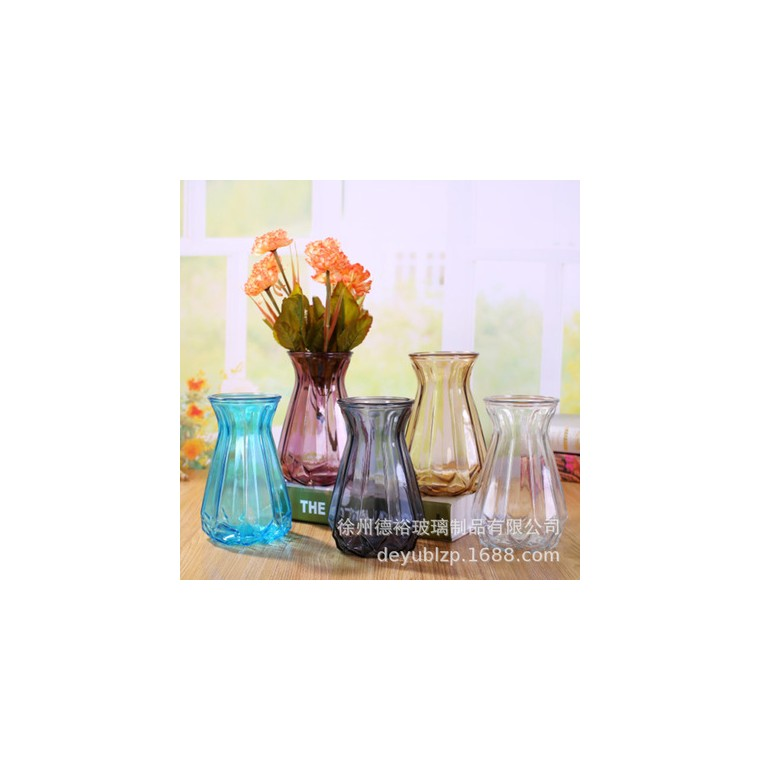 簡約透明折紙玻璃花瓶創意小清新客廳插花擺件水培綠蘿干花玻璃瓶