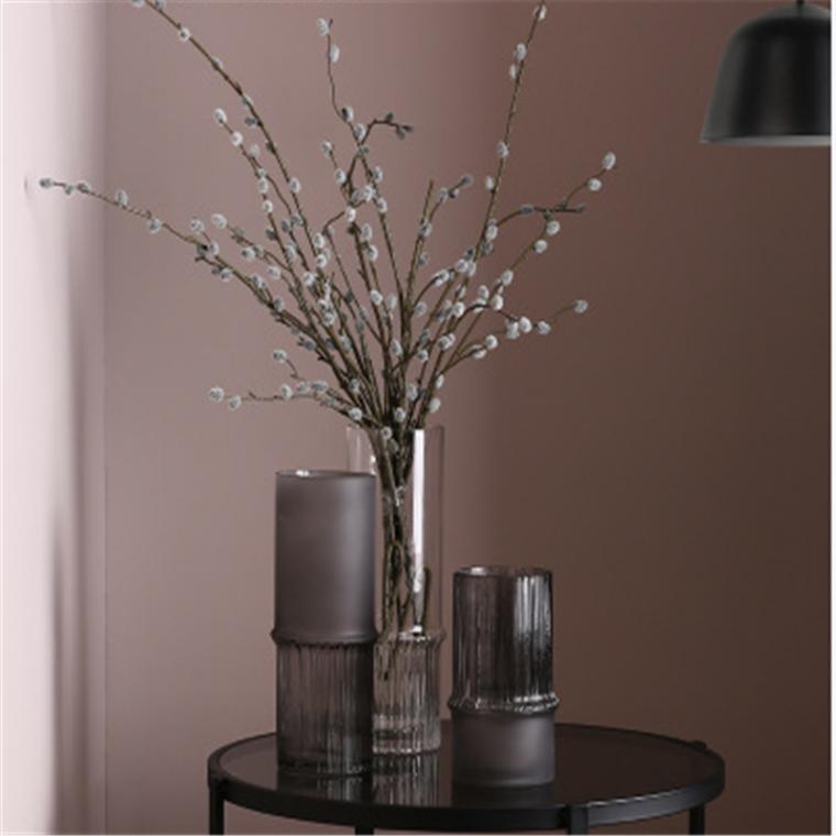 簡約現代竹節造型玻璃花瓶客廳餐桌插花瓶裝飾品擺設