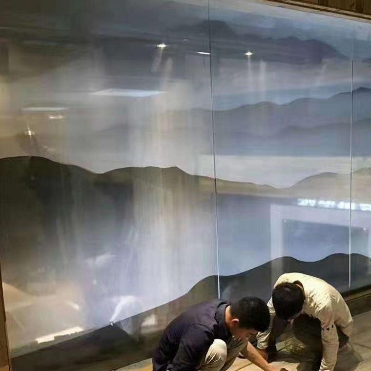 山水畫玻璃
