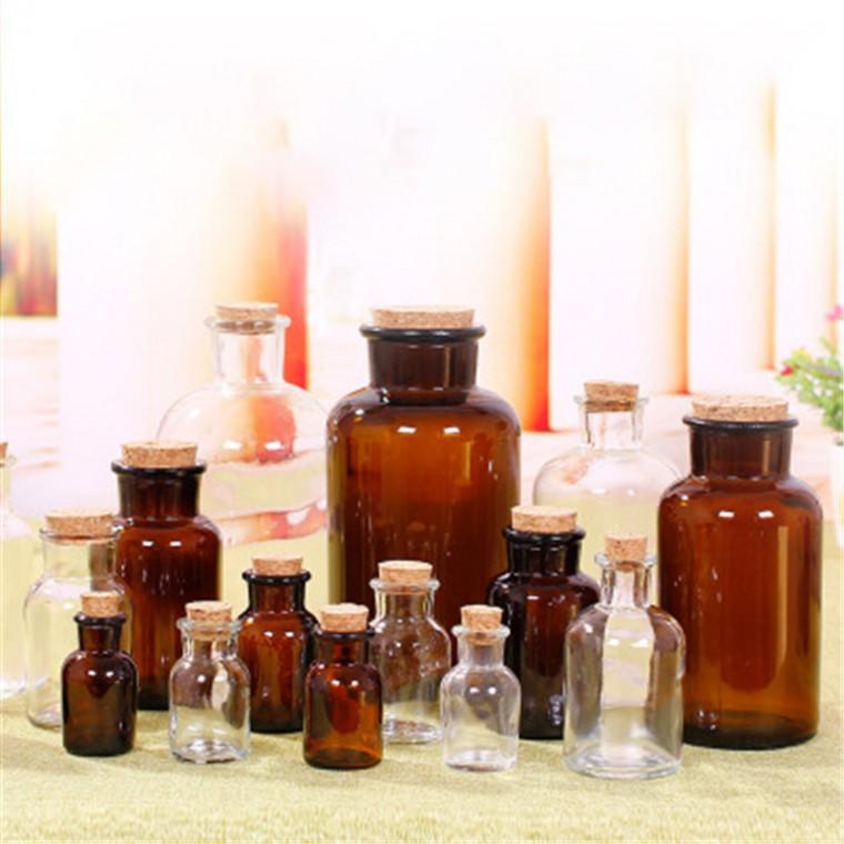 透明棕色木塞試劑瓶創意飲料瓶花茶密封罐玻璃實驗試劑瓶儲物