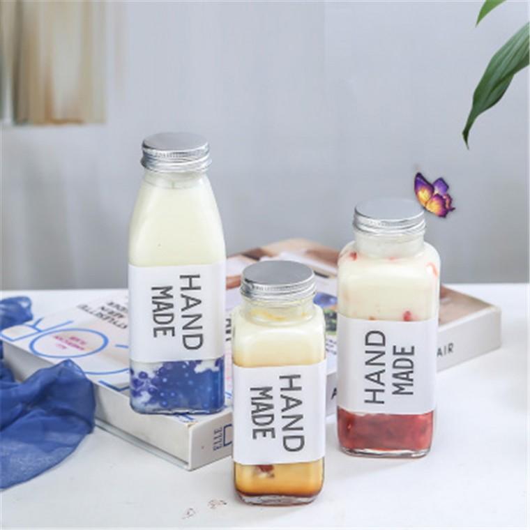 新款網紅350ml牛乳杯奶茶果汁飲料瓶玻璃密封罐