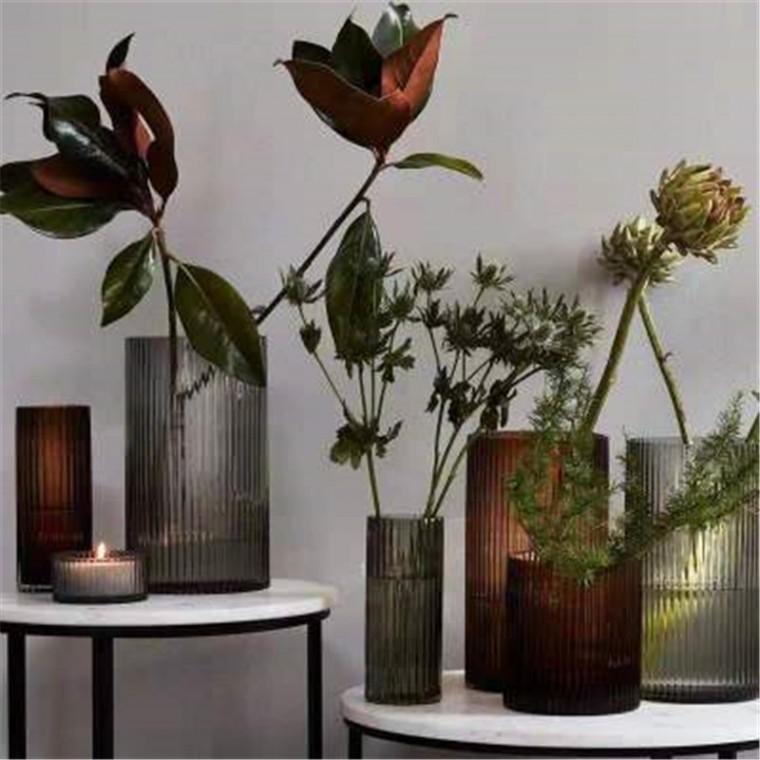 歐式簡約創意凹槽玻璃圓柱形花瓶桌面辦公室客廳裝飾品拍照擺件