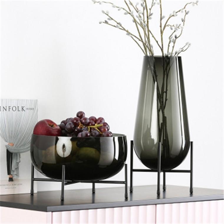 千弘玻璃花瓶家居裝飾花盆 餐桌金屬玻璃擺件