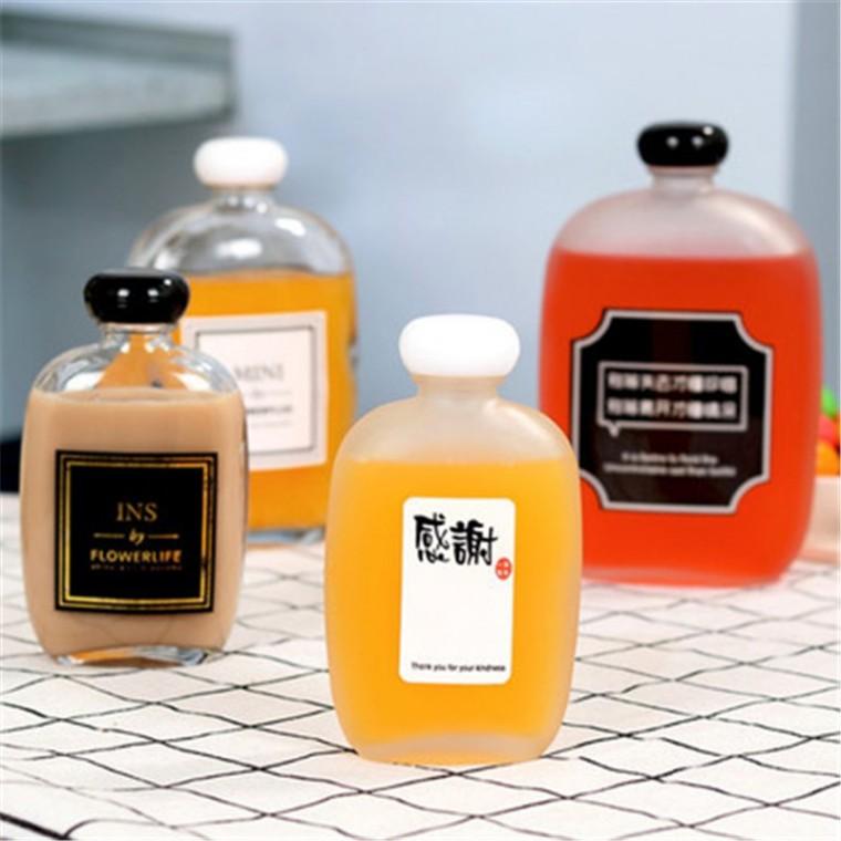 千弘蘑菇蓋飲料果汁奶茶扁瓶白果酒小酒瓶密封玻璃空瓶帶蓋