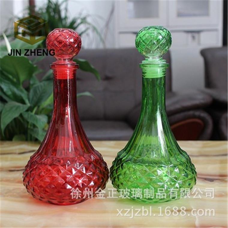 廠家批發創意錐形鉆石浮雕紋路洋酒醒酒器家具收藏擺件裝飾
