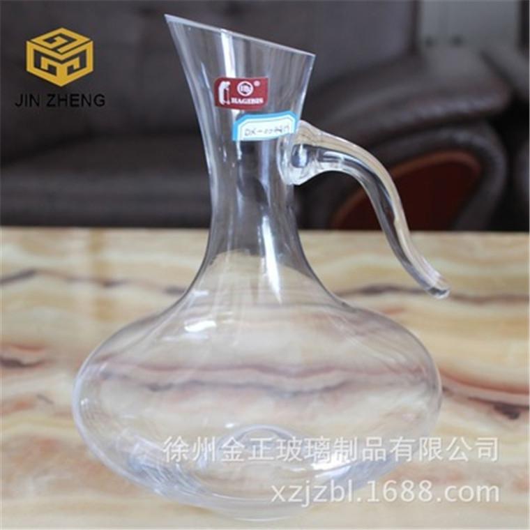 廠家供應 帶把冷切口醒酒壺大容量紅酒葡萄酒分酒器