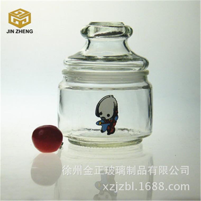 现货销售 150毫升玻璃储物罐烤花工艺小狗图案糖果储物罐