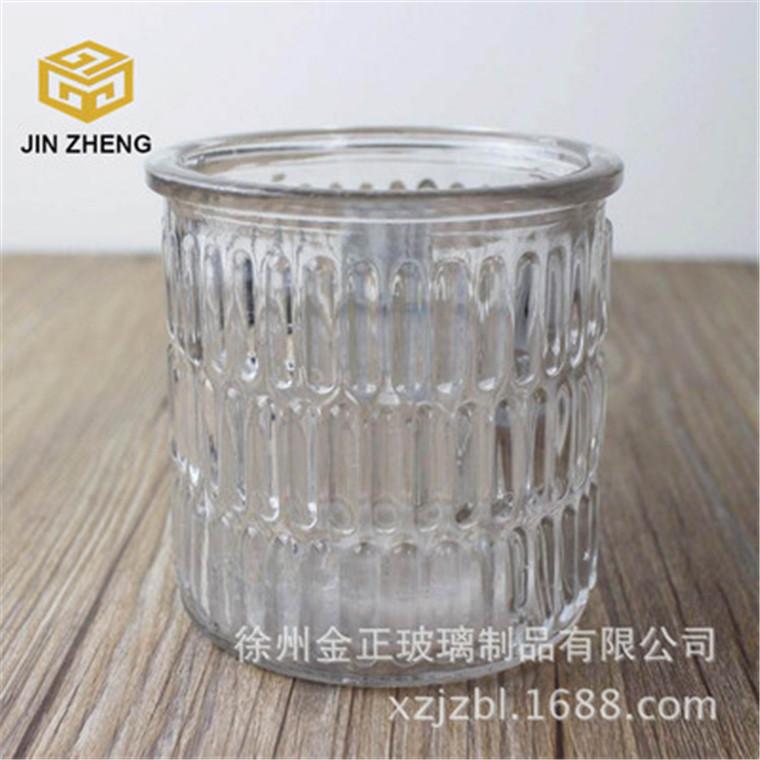 厂家供应 条纹玻璃储物罐 400毫升罐蜡玻璃容器