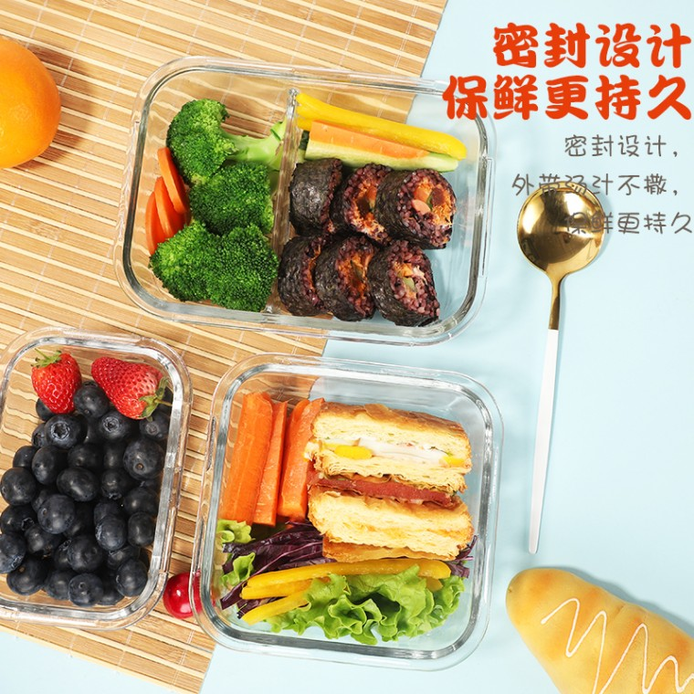 饭盒分隔型日式可爱带饭专用碗分隔型玻璃保鲜便当盒带餐具加热盒