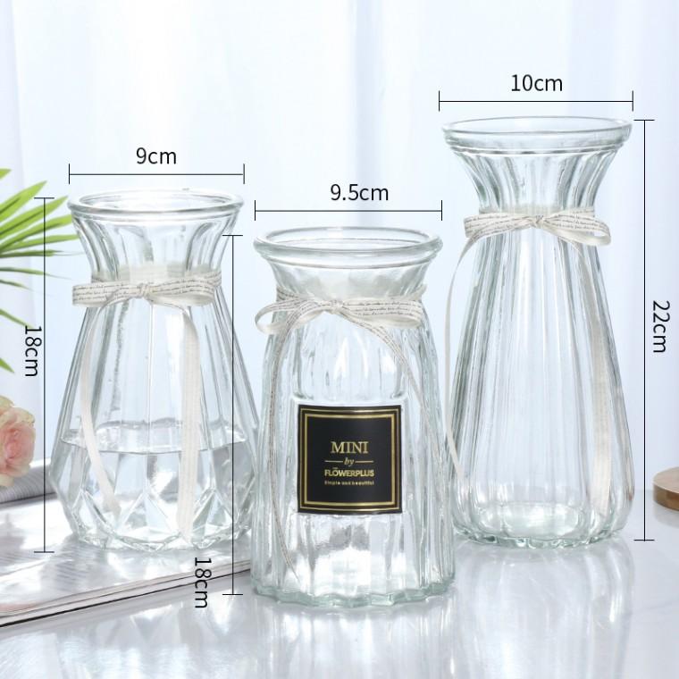 德裕北歐幾何玻璃花瓶擺件創意簡約透明水培客廳插花桌面家居