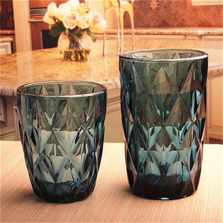 无铅玻璃水杯彩色菱形