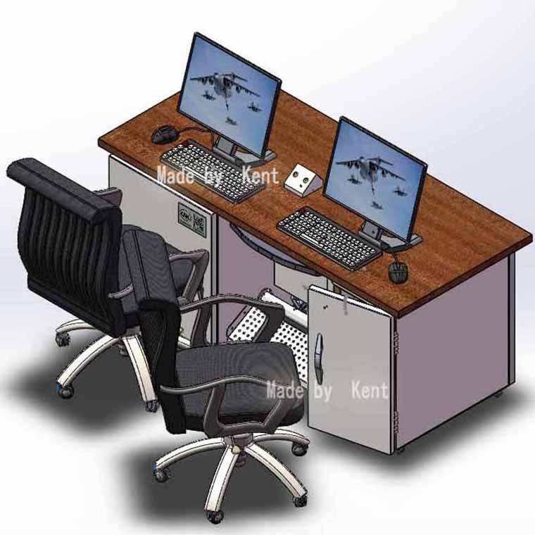 臺式雙工位電腦屏蔽桌TSDC2