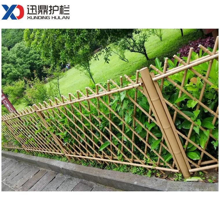 仿竹栅栏菜园竹子篱笆围墙户外仿竹栅栏绿色枯叶黄色