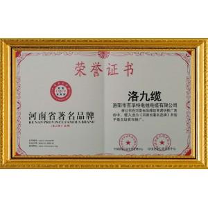 河南著名品牌荣誉证书