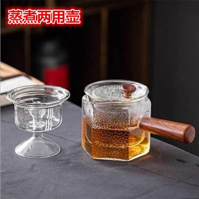 加厚玻璃功夫茶具耐高温侧把过滤泡茶壶套装家用木把蒸茶煮茶器具