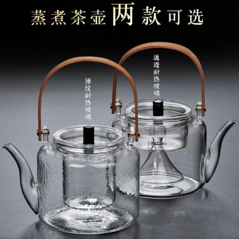 家用玻璃蒸汽煮茶提梁壶煮茶器锤纹竹把烧泡茶壶电热煮茶烧水壶