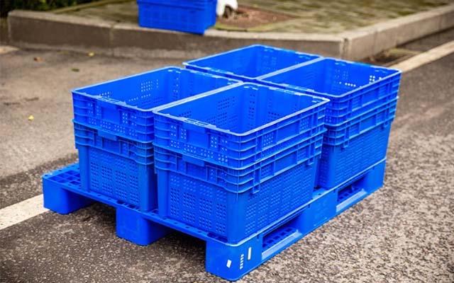 吉林四平食品专用塑料箱,错位筐